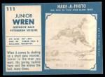 1961 Topps #111  Junior Wren  Back Thumbnail