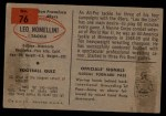 1954 Bowman #76   Leo Nomellini Back Thumbnail
