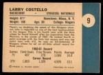1961 Fleer #9   Larry Costello Back Thumbnail