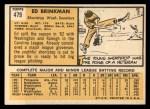 1963 Topps #479   Ed Brinkman Back Thumbnail
