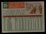 1959 Topps #315  Joe Adcock  Back Thumbnail