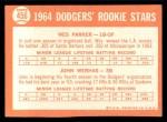 1964 Topps #456  Dodgers Rookies  -  Wes Parker / John Werhas Back Thumbnail