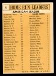 1963 Topps #4  AL HR Leaders  -  Harmon Killebrew / Roger Maris / Norm Cash / Rocky Colavito / Jim Gentile / Leon Wagner Back Thumbnail