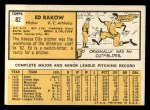 1963 #82  Ed Rakow  Back Thumbnail