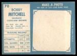 1961 Topps #70   Bobby Mitchell Back Thumbnail