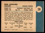 1961 Fleer #28   Bob Leonard Back Thumbnail