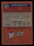 1973 Topps #400  Joe Namath  Back Thumbnail
