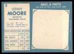 1961 Topps #2  Lenny Moore  Back Thumbnail