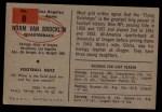 1954 Bowman #8   Norm Van Brocklin Back Thumbnail