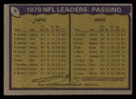 1979 Topps #1  Passing Leaders  -  Roger Staubach / Terry Bradshaw Back Thumbnail