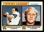 1979 Topps #1  Passing Leaders  -  Roger Staubach / Terry Bradshaw Front Thumbnail