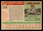1955 Topps #115   Ellis Kinder Back Thumbnail