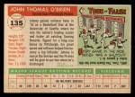 1955 Topps #135  John O'Brien  Back Thumbnail