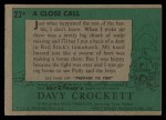 1956 Topps Davy Crockett #22 GRN  A Close Call  Back Thumbnail