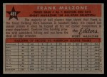 1958 Topps #481  All-Star  -  Frank Malzone Back Thumbnail