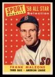 1958 Topps #481  All-Star  -  Frank Malzone Front Thumbnail