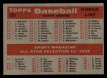 1958 Topps #475  All-Star Managers  -  Casey Stengel / Fred Haney Back Thumbnail