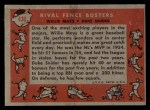1958 Topps #436   -  Duke Snider / Willie Mays Rival Fence Busters Back Thumbnail