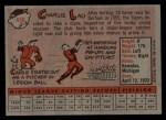 1958 Topps #448  Charlie Lau  Back Thumbnail
