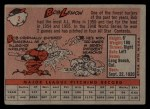 1958 Topps #2 WT  Bob Lemon Back Thumbnail