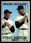 1967 Topps #423  Fence Busters  -  Willie Mays / Willie McCovey Front Thumbnail