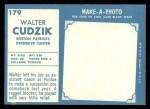 1961 Topps #179   Walt Cudzik Back Thumbnail