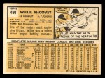 1963 Topps #490  Willie McCovey  Back Thumbnail