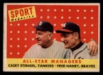 1958 Topps #475  All-Star Managers  -  Casey Stengel / Fred Haney Front Thumbnail