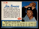 1962 Post Cereal #26   Jim Bunning  Front Thumbnail