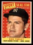 1958 Topps #493  All-Star  -  Bob Turley Front Thumbnail