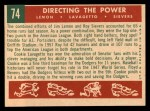 1959 Topps #74  Directing The Power  -  Jim Lemon / Roy Sievers / Cookie Lavagetto Back Thumbnail