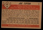 1953 Bowman Black and White #13   Joe Tipton Back Thumbnail