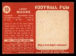 1958 Topps #10  Lenny Moore  Back Thumbnail