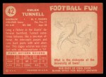 1958 Topps #42   Emlen Tunnell Back Thumbnail