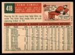 1959 Topps #418   Gino Cimoli Back Thumbnail