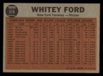 1962 Topps #315  Ford Tosses a Curve  -  Whitey Ford Back Thumbnail