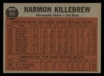 1962 Topps #316  Killebrew Sends One Into Orbit  -  Harmon Killebrew Back Thumbnail