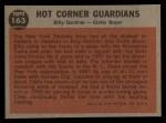 1962 Topps #163 GRN  -  Billy Gardner / Clete Boyer Hot Corner Guardians Back Thumbnail