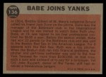 1962 Topps #136 GRN Babe Joins Yanks  -  Babe Ruth Back Thumbnail