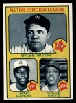 1973 Topps #1  All Time Home Run Leaders  -  Hank Aaron / Babe Ruth / Willie Mays Front Thumbnail
