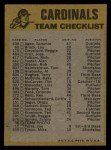1974 Topps Red Team Checklists #23  Cardinals Team Checklist  -     Back Thumbnail