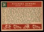 1959 Topps #34  Pitchers Beware  -  Al Kaline / Charley Maxwell Back Thumbnail