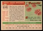 1955 Topps #113  Harry Brecheen  Back Thumbnail