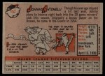 1958 Topps #152  Johnny Antonelli  Back Thumbnail