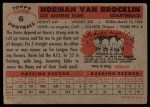 1956 Topps #6  Norm Van Brocklin  Back Thumbnail
