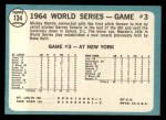1965 Topps #134  1964 World Series - Game #3 - Mantle's Clutch HR  -  Mickey Mantle / Barney Schultz / Tim McCarver Back Thumbnail