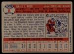 1957 Topps #8   Don Mossi Back Thumbnail