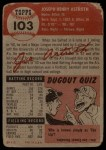 1953 Topps #103   Joe Astroth Back Thumbnail