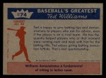 1959 Fleer #74   -  Ted Williams Here's How! Back Thumbnail