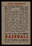 1951 Bowman #89  Henry Thompspn  Back Thumbnail